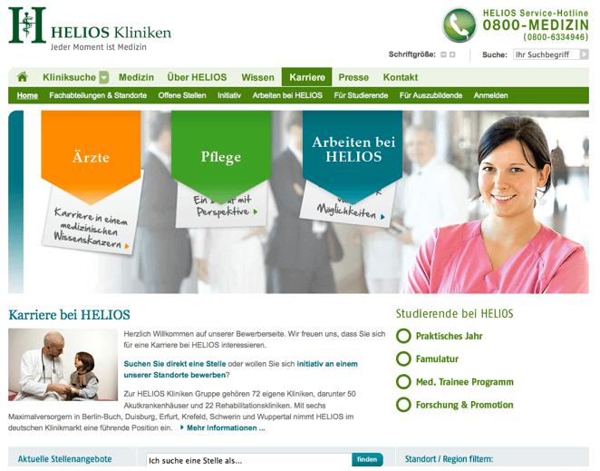 Karriereseite der Helios Kliniken